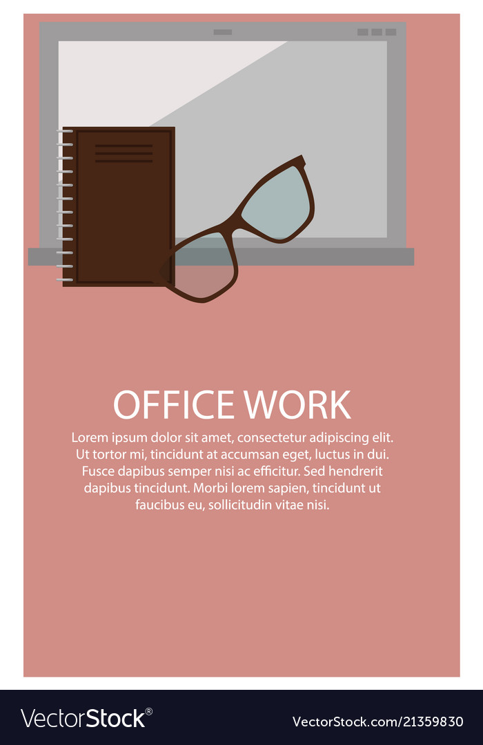 Office work poster and text