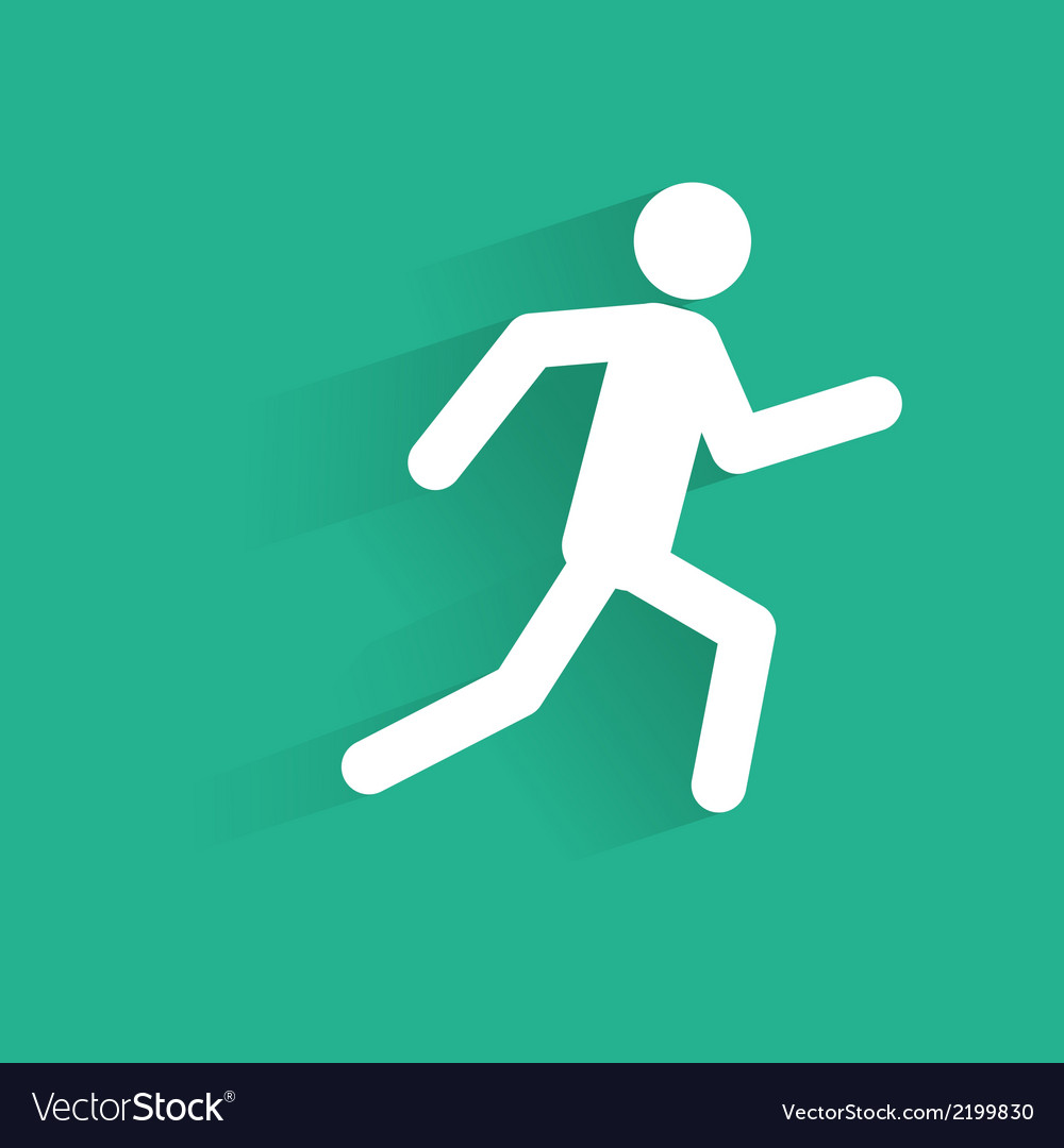 Running man icon silhouette with shadow vector image