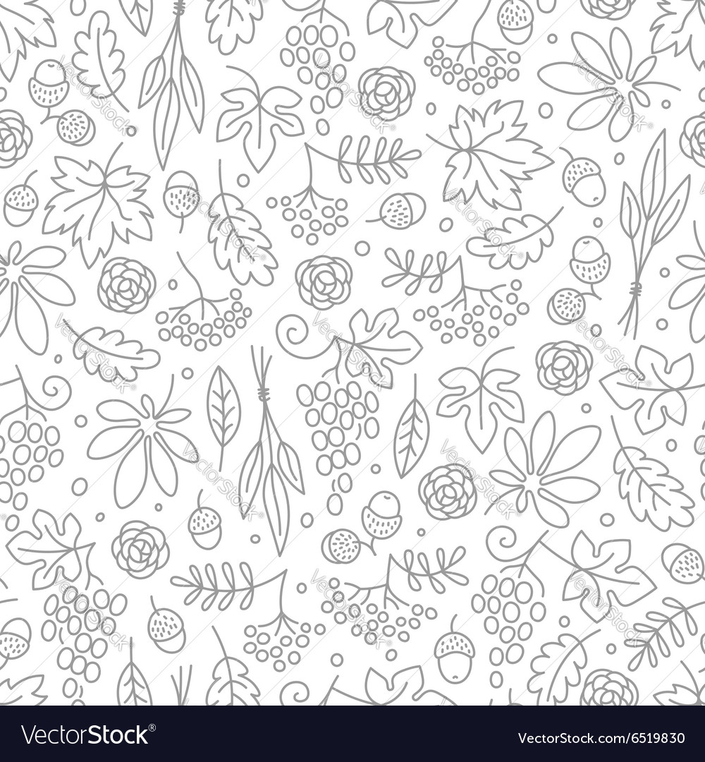 Seamless pattern with grapes acorns leaves and