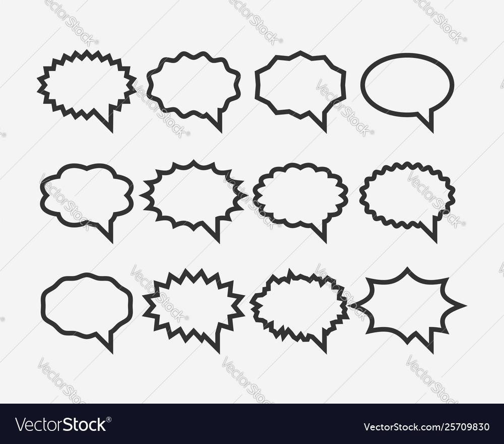 Set talk bubbles speech blank empty bubble icon