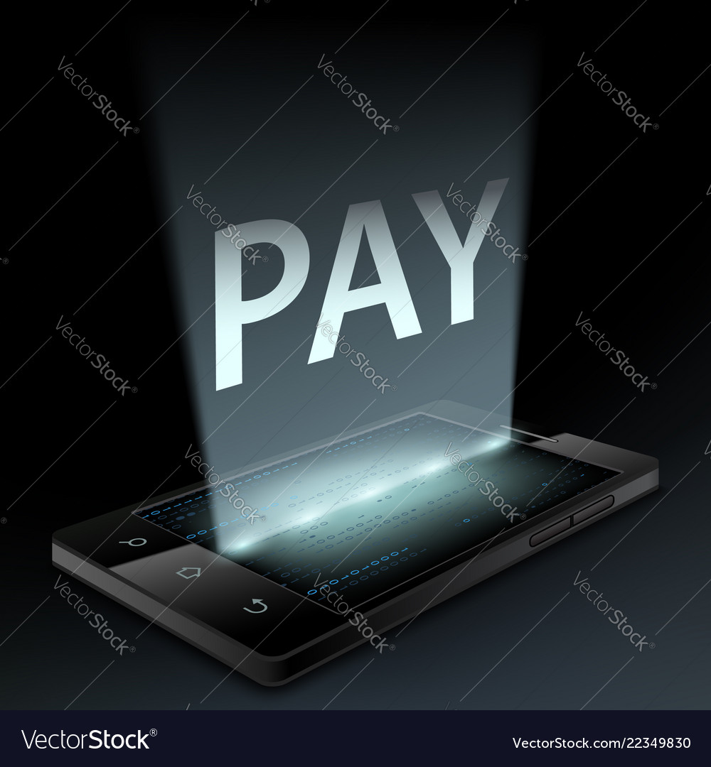 Smartphone with the word pay on the screen