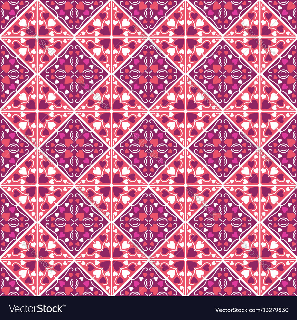 Square pattern with red decorative valentine