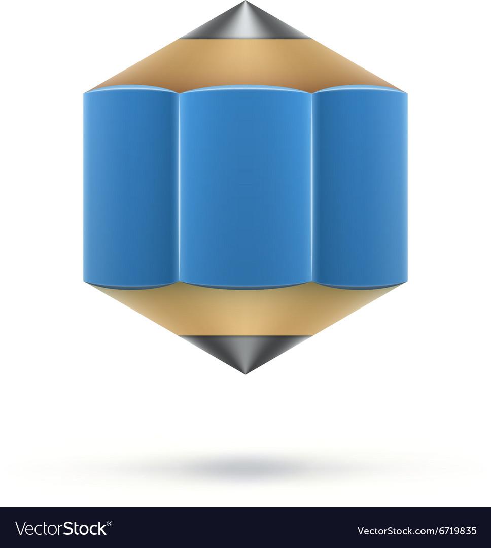 Blue hexagonal pencil