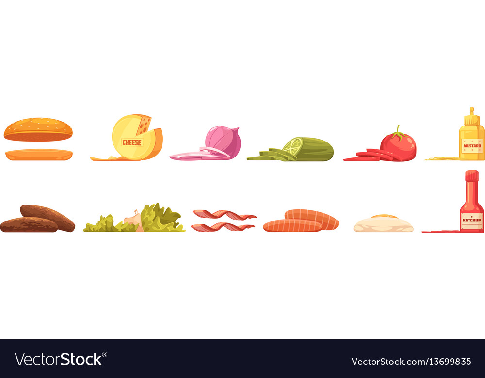 Burger elements set retro cartoon style