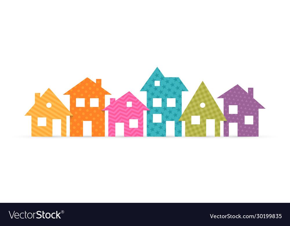 Colorful suburban houses flat icon
