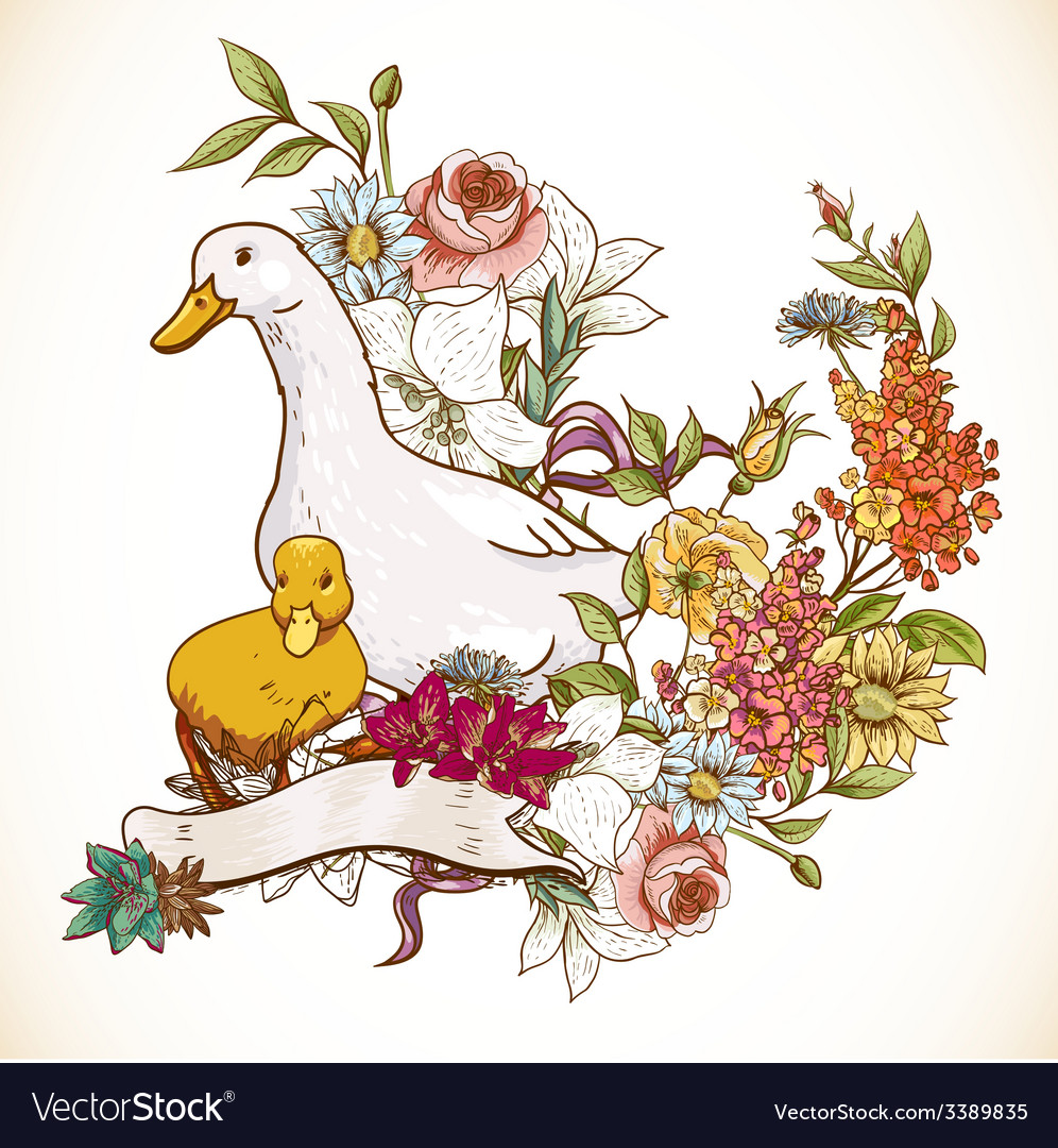 Cute background with ducks and flowers