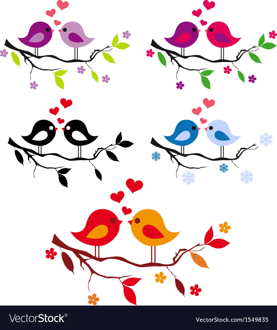 Cute birds with red hearts on tree set
