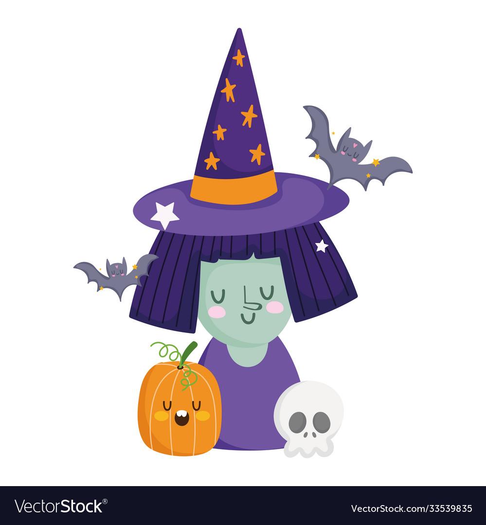 Happy halloween witch with hat pumpkin skull