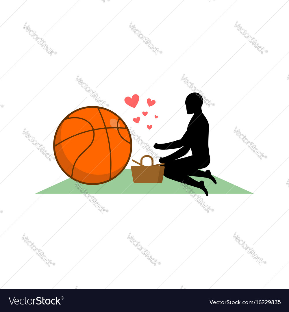 Lover basketball guy and ball on picnic meal in