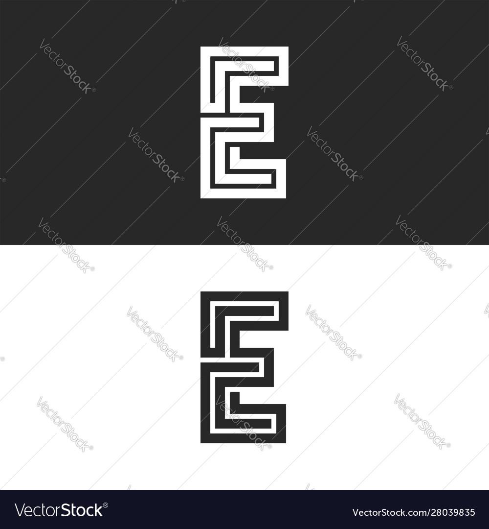 Monogram letter e logo maze shape creative art