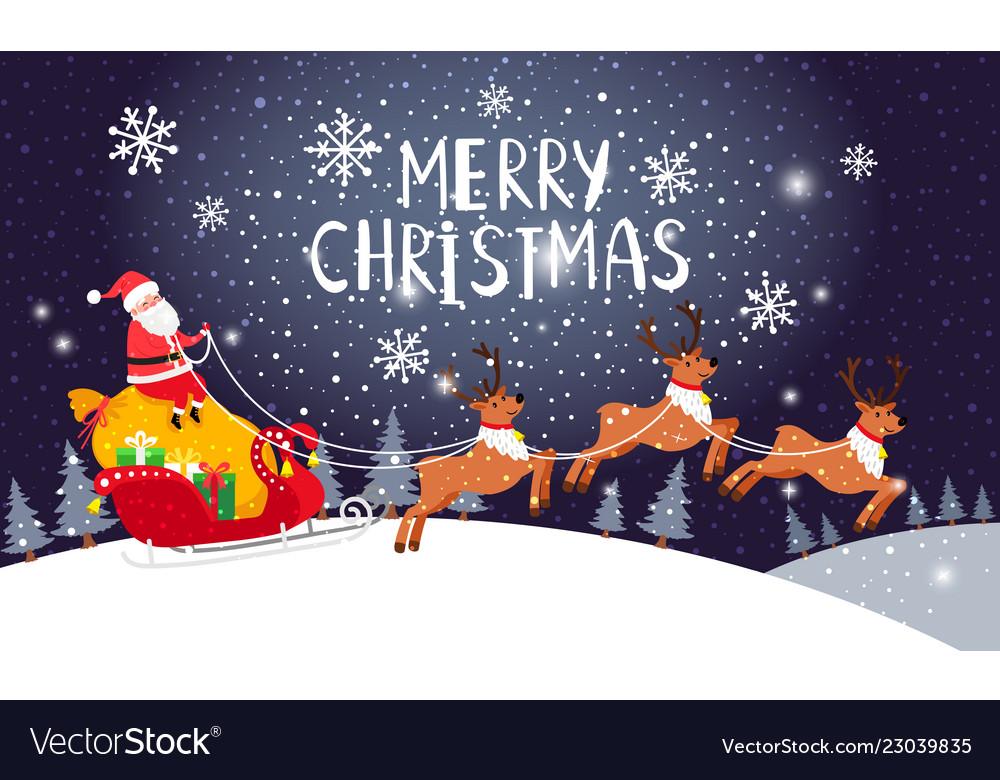 Santa driving sleigh christmas holiday night card