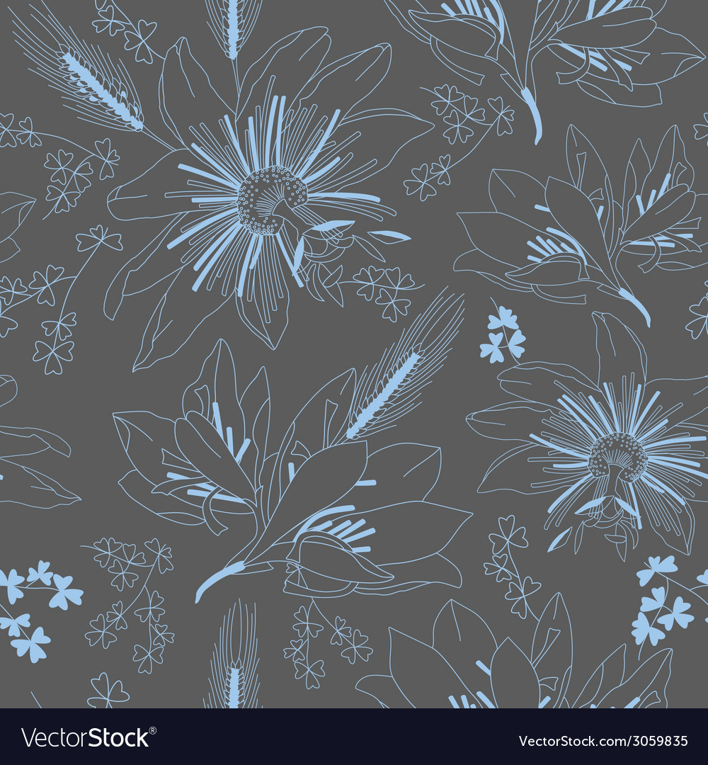 Seamless dark grey pattern with flowers lily