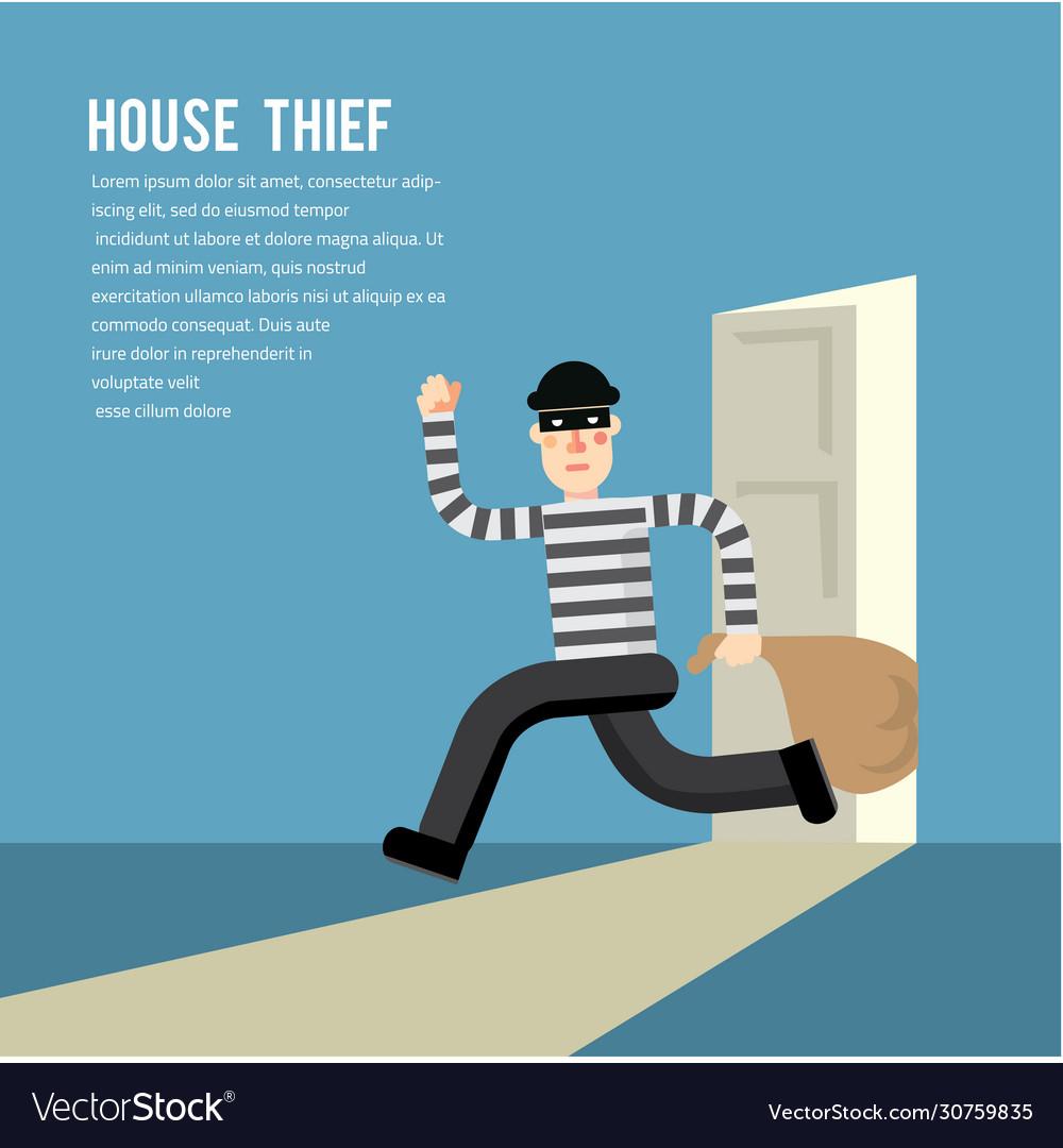 Simple cartoon a burglar break into a house