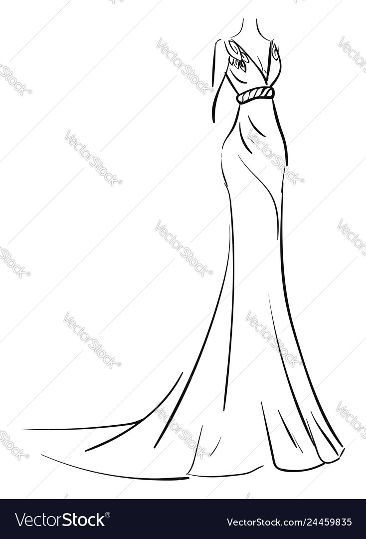Simple sketch of a long evening dress on white