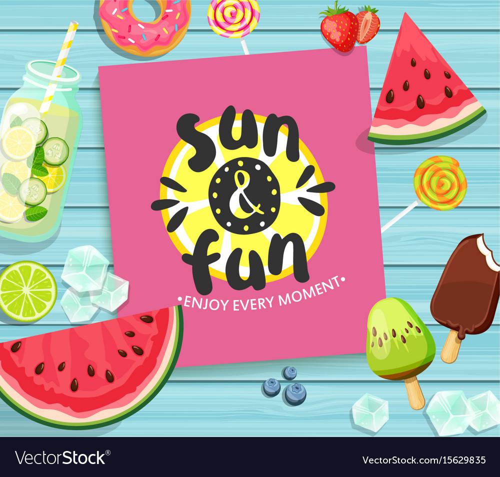 Summer card on blue wooden background