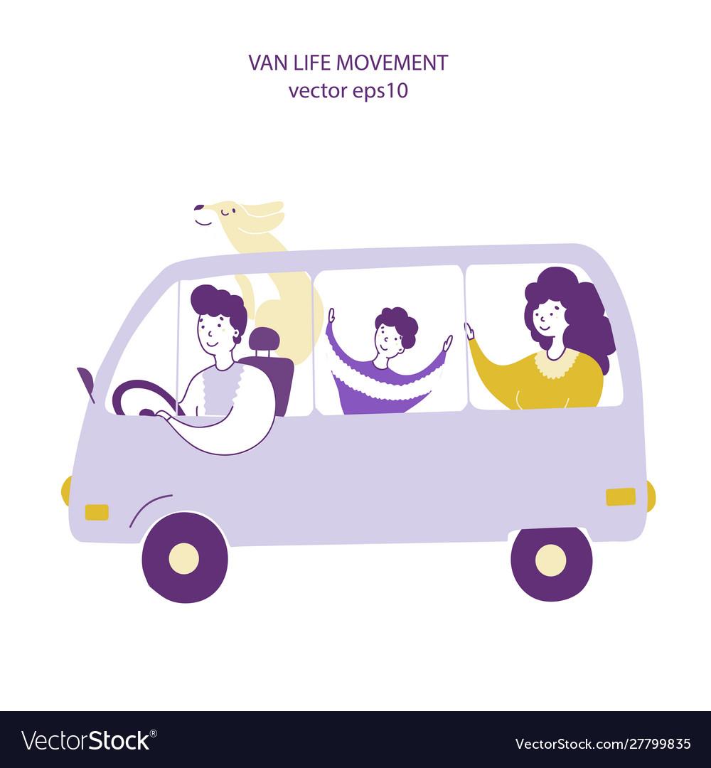 Van travel lifestyle hand drawn flat