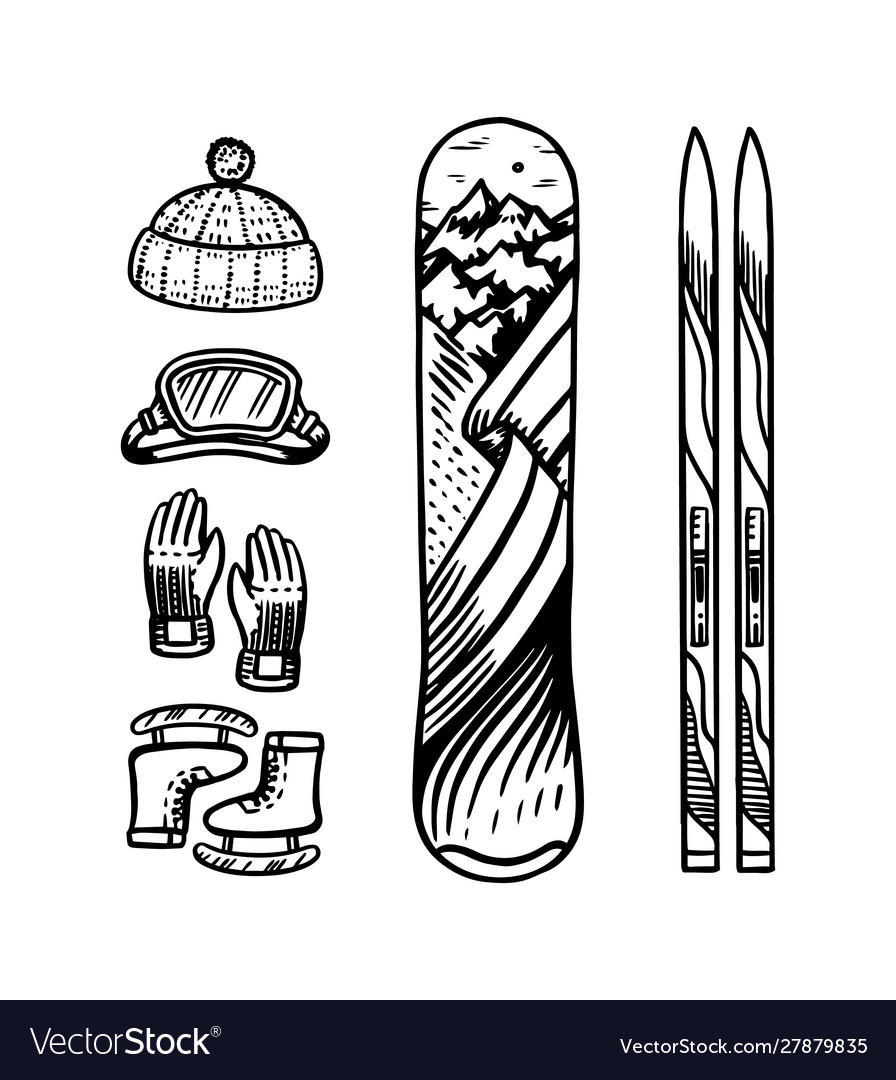 Vintage style snowboard and ski winter warm