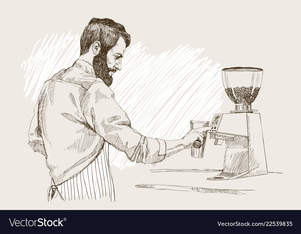 Young barista man in pencil