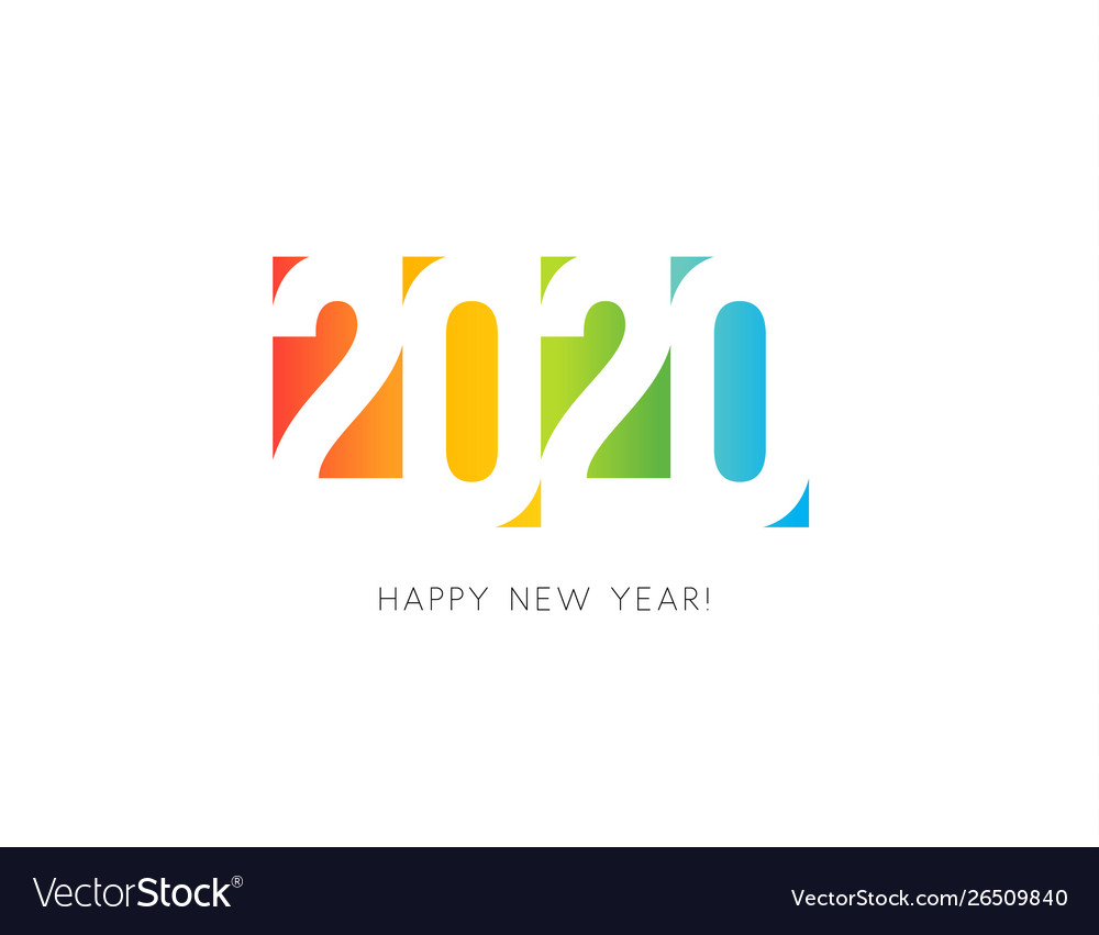 2020 new year colored numbers design