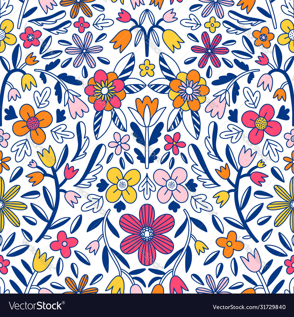 Abstract floral symmetrical seamless pattern
