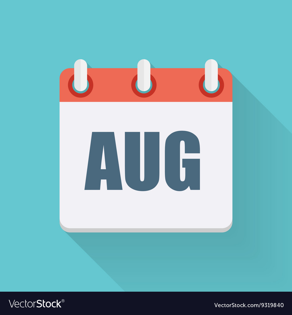 August Dates Flat Icon with Long Shadow