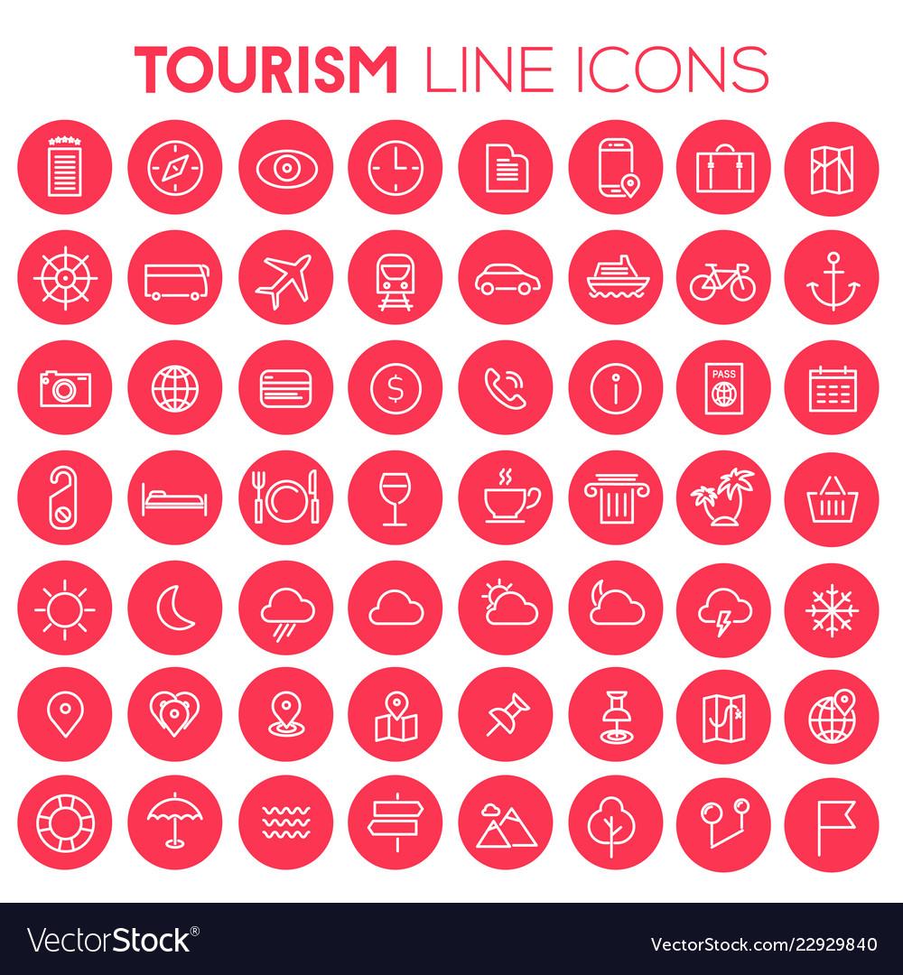 Big tourism icon set trendy line icons collection