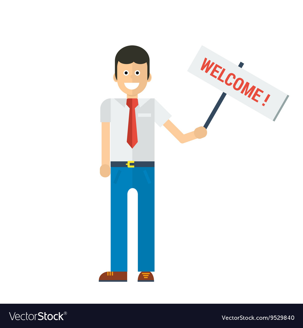 Businessman holding welcome sign in hand