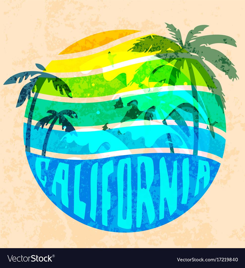 California beach typography graphics t-shirt