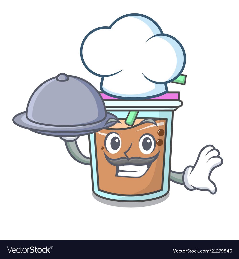 Chef with food bubble tea mascot cartoon