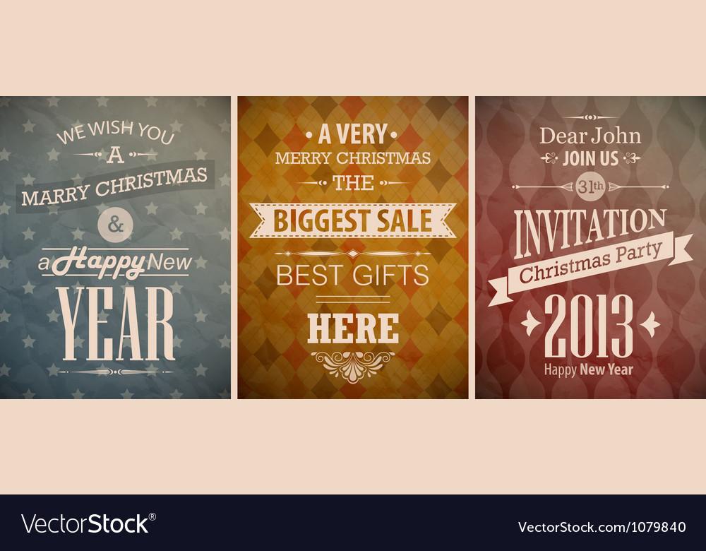 Christmas vintage set retro greeting cards vector image