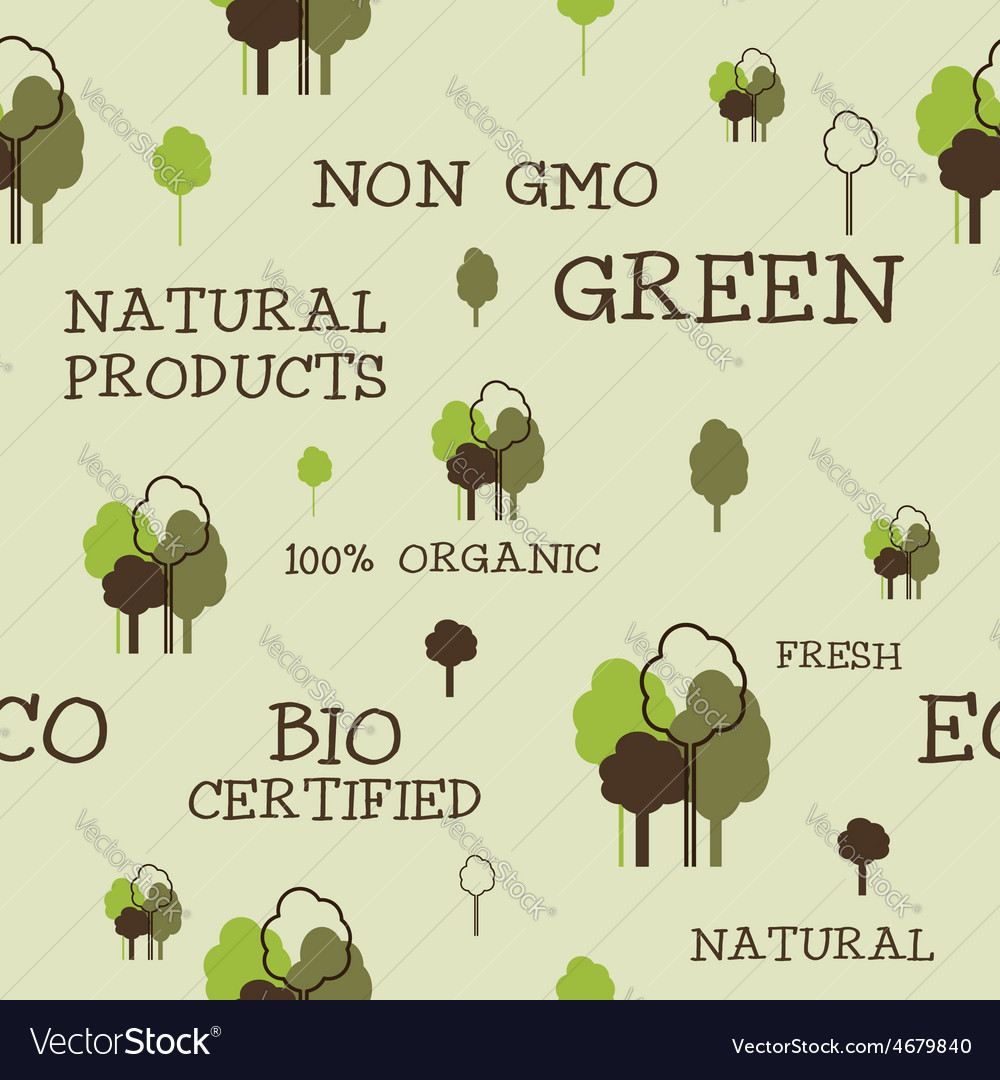 Eco and organic seamless pattern Non gmo design