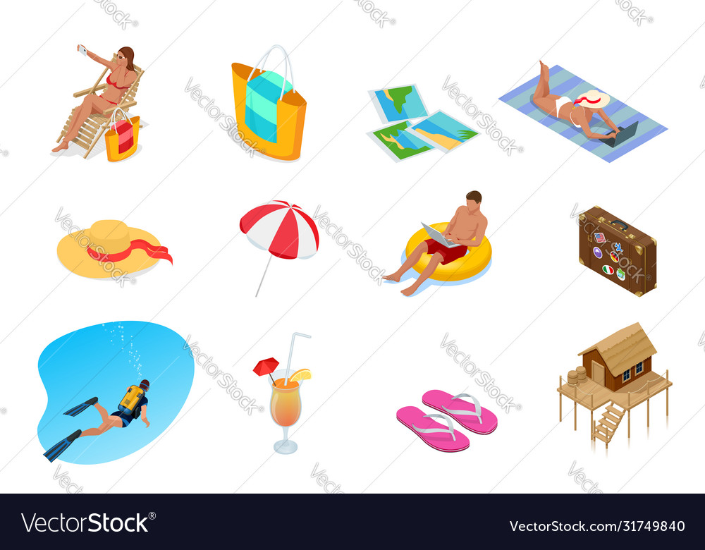 Isometric collection summer icons summer and