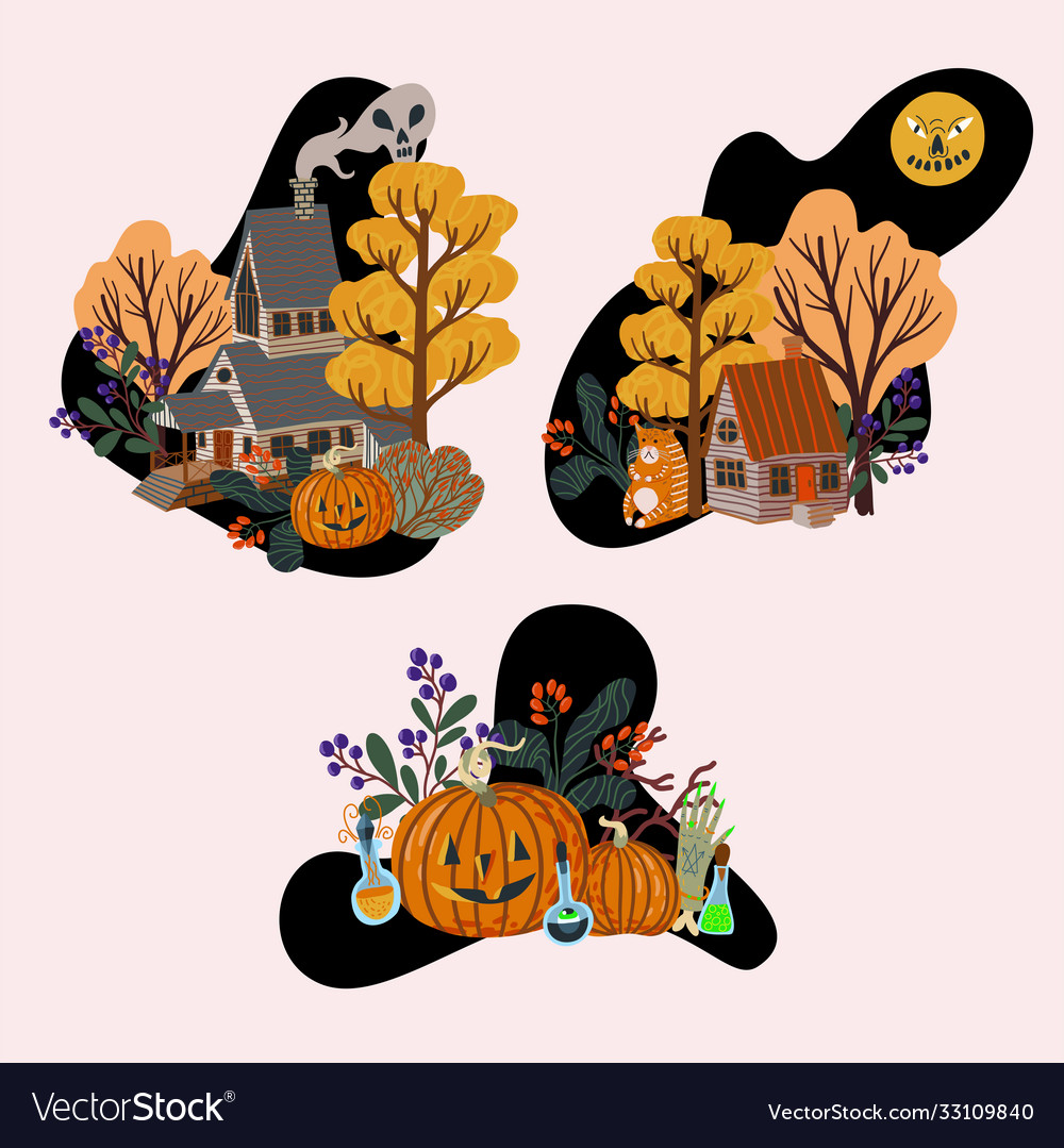 Old wooden houses and halloween elements isolated