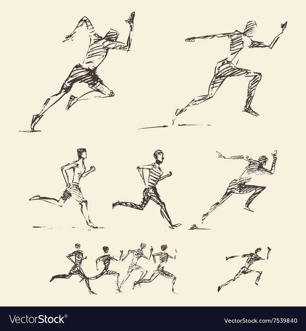 Set drawn running man healthy sketch