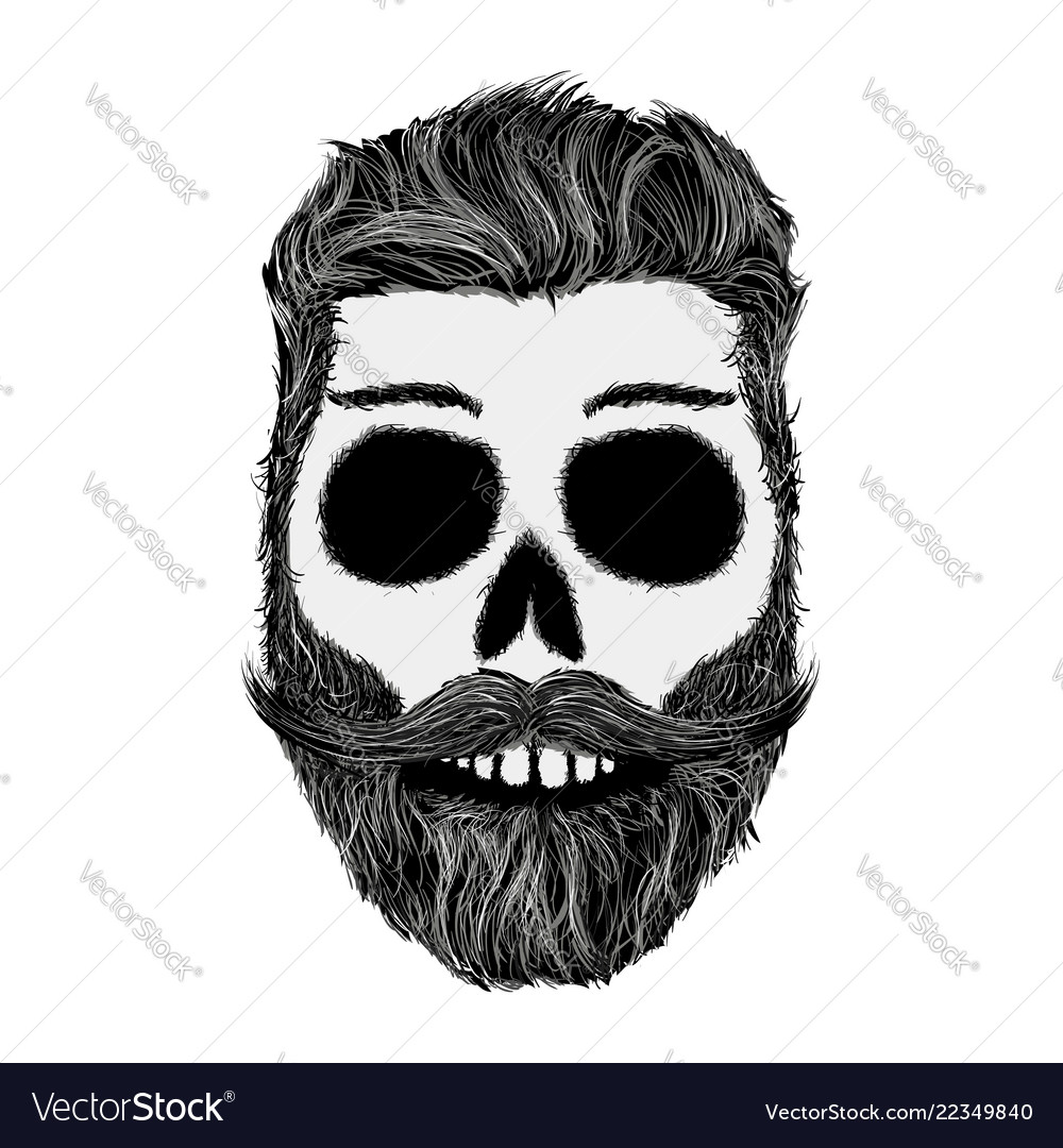 Sketch human skull with a mustache and beard