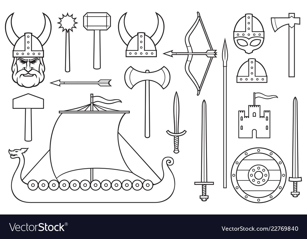 Viking thin line icons collection