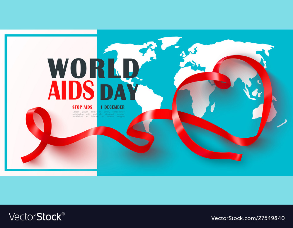 World aids day banner with red ribbonstop aids