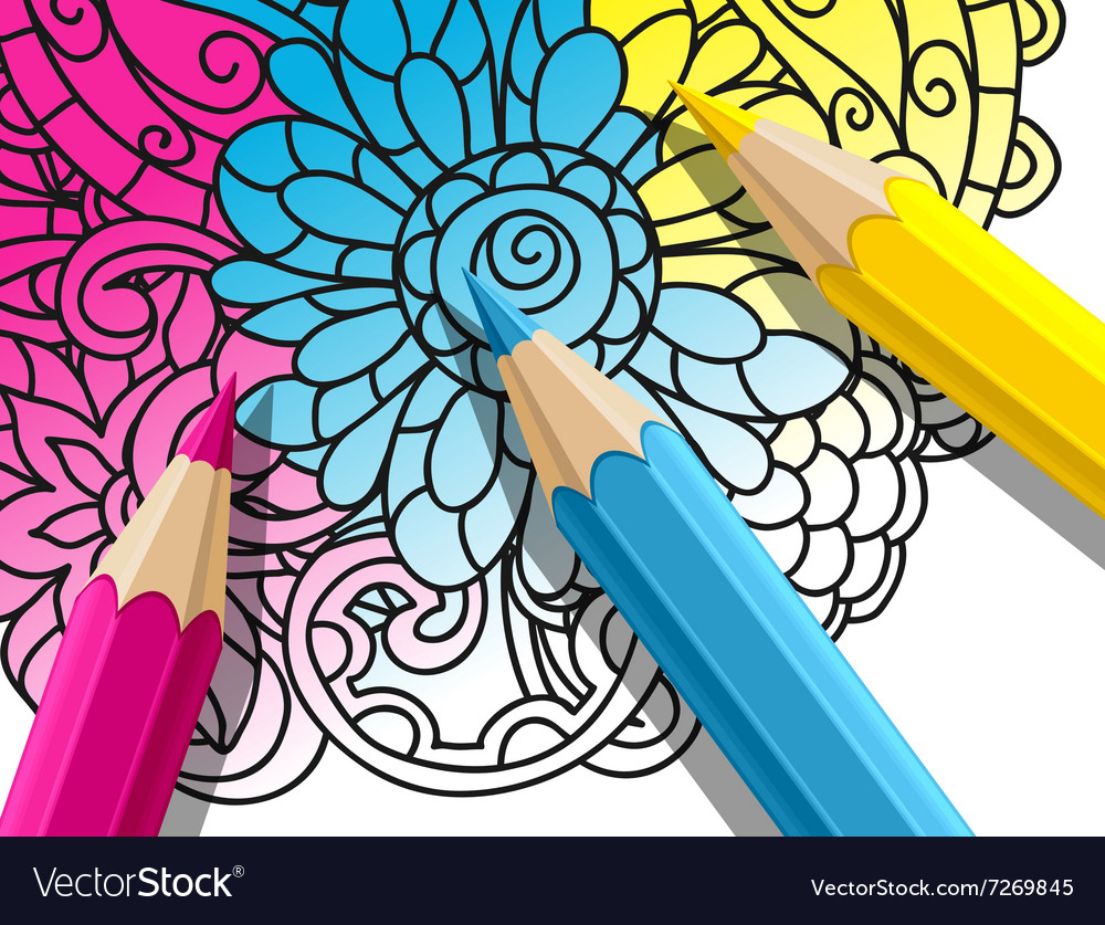 Adult coloring concept with pencils printed Vector Image