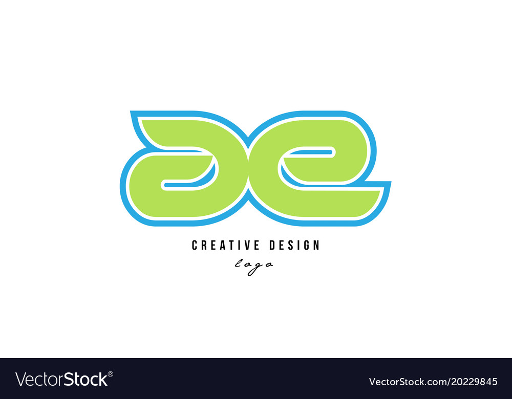 Blue green alphabet letter ae a e logo icon design