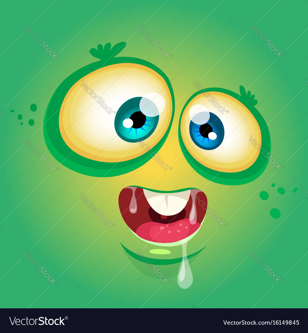 Cartoon funny monster face avatar vector image