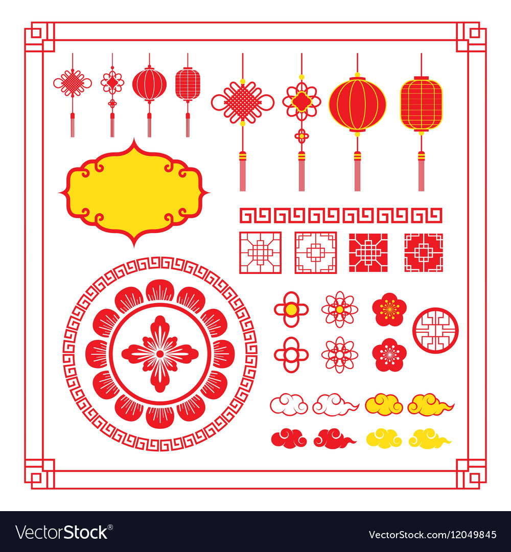 chinese design elements ornaments decoration vector image vectorstock
