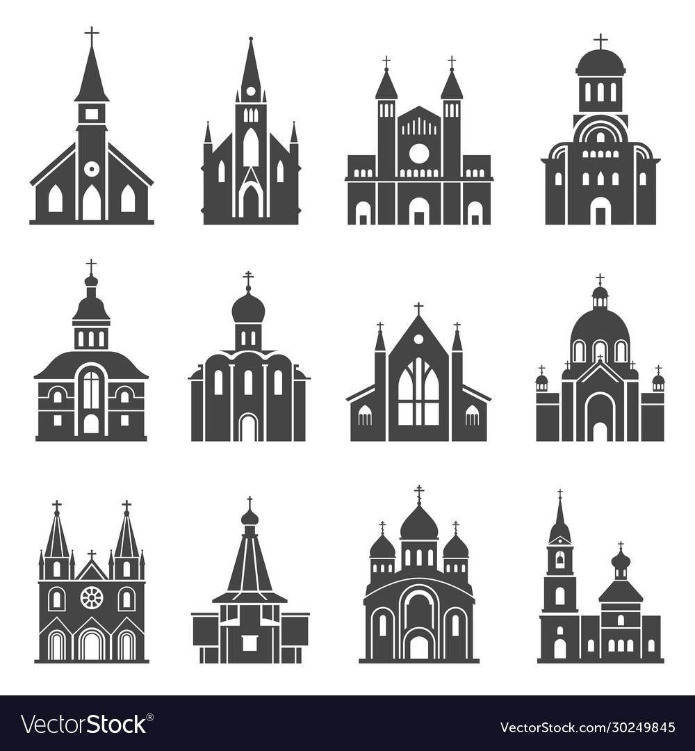 Church icon set traditional religious spiritual