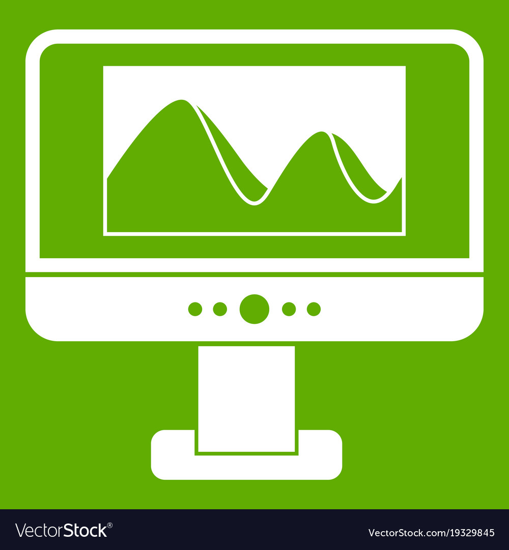 Computer monitor with photo on screen icon green