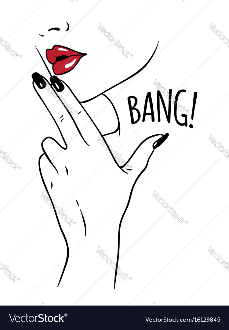 Hand drawn woman holding fingers in gun gesture vector image