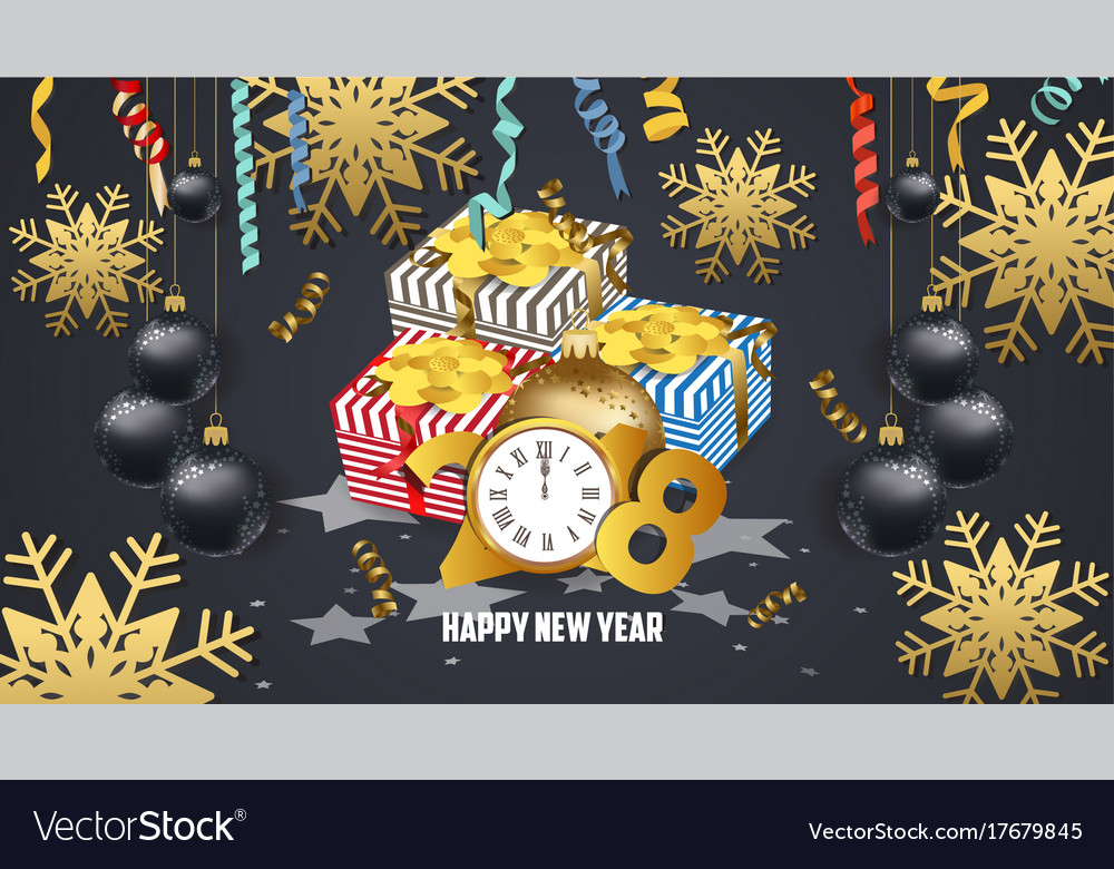 8654bf89c664b Happy new year 2018 gifts and confetti Royalty Free Vector