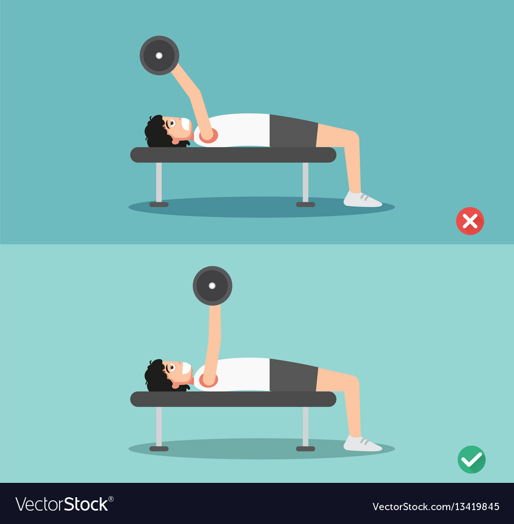Man wrong and right barbell bent press posture vector image