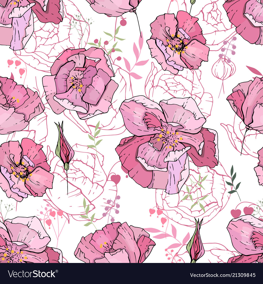 Seamless pattern with pink roses endless texture