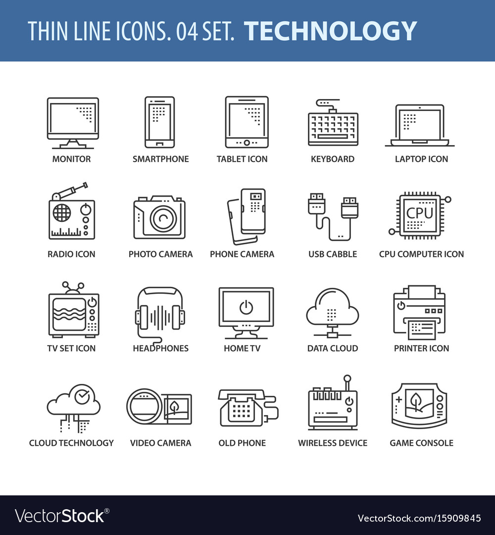 Set of thin line flat icons technology