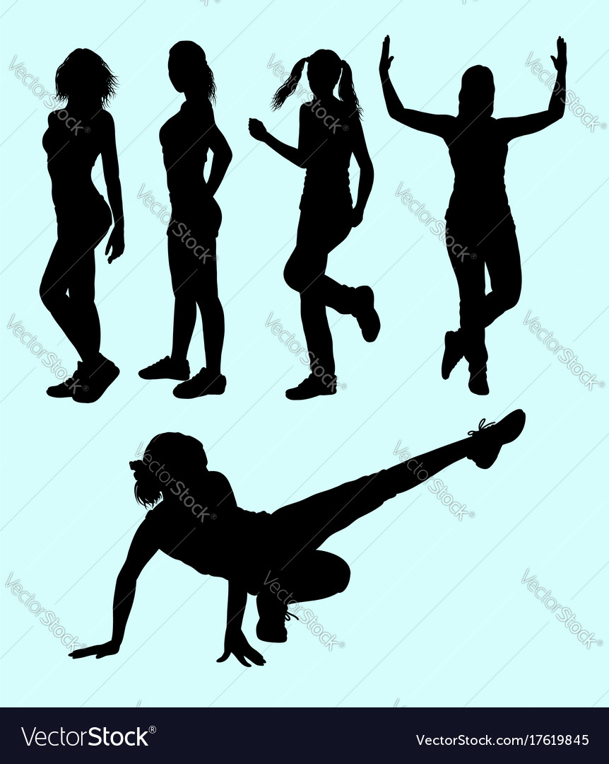 Sexy girls and sport activity silhouette