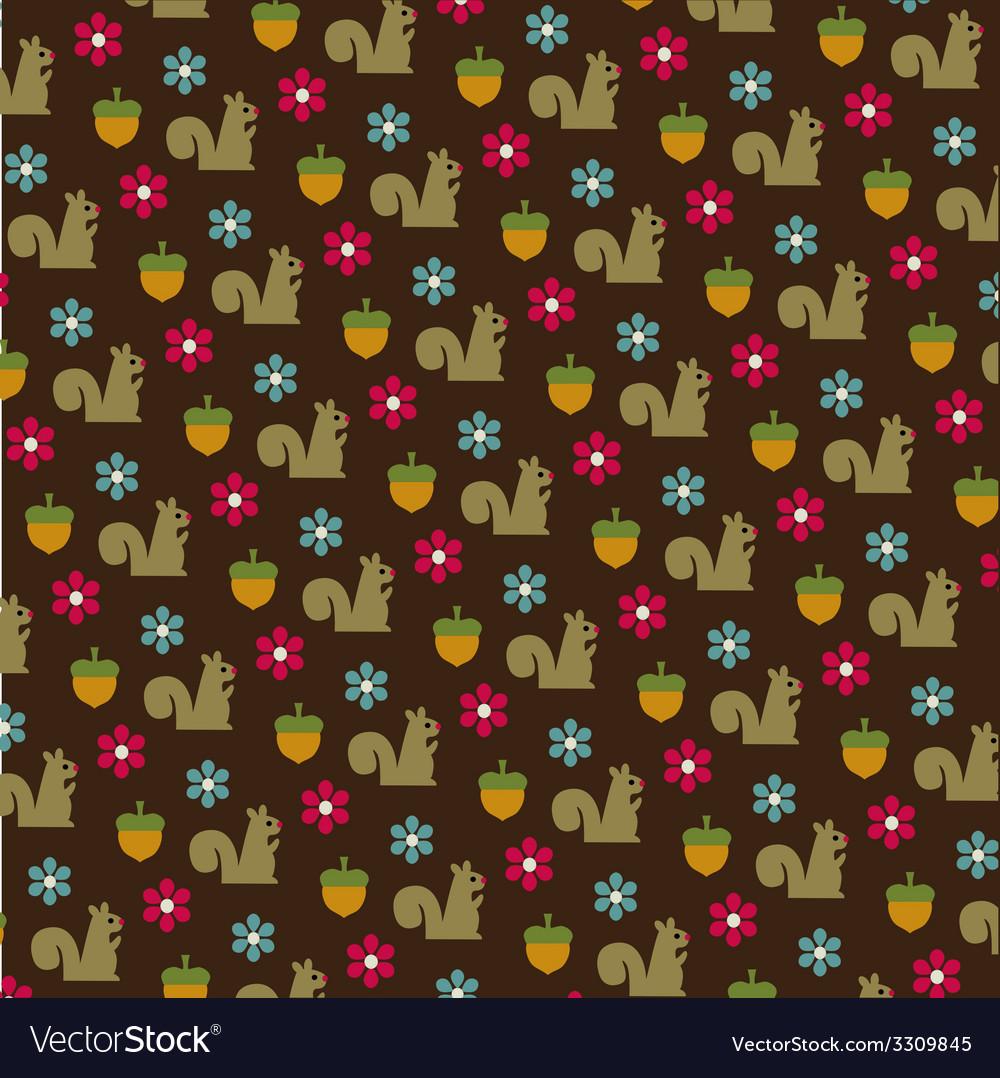Squirrels and acorns pattern